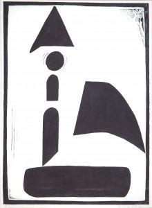 12.L Píseň horizontu XV., 1972 (dřevořez, ruční tisk)