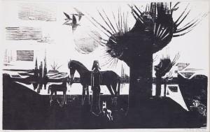 14.P Místo mého dětství (z cyklu Krajina domova), 1979 (dřevořez, ruční tisk)